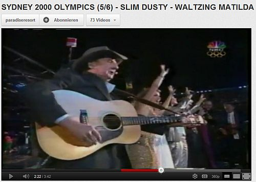 "瑪蒂爾達華爾茲 - 在悉尼奧運會, SYDNEY 2000 OLYMPICS - SLIM DUSTY SINGING ""WALTZING MATILDA"""